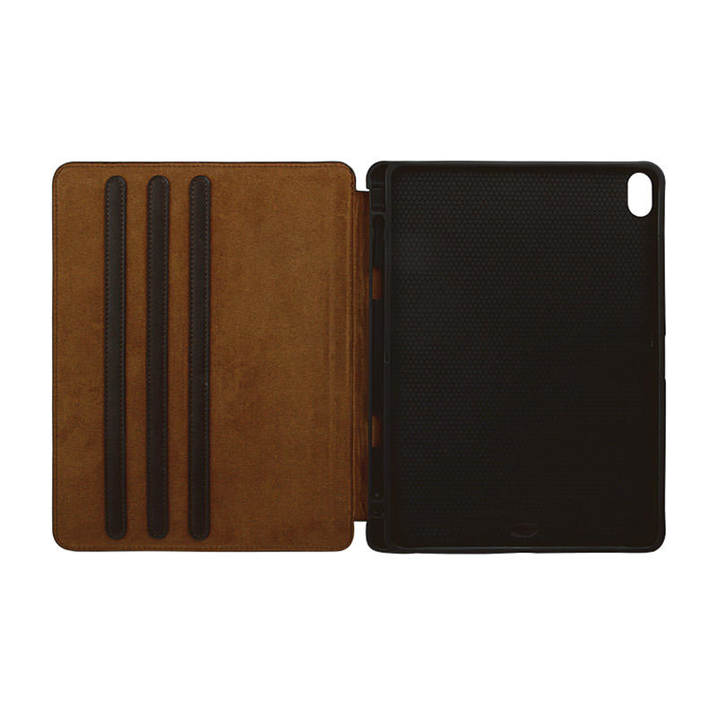 Factory wholesale lowest price Magnetic buckle Genuine Leather Brown Leather For Ipad Case-2