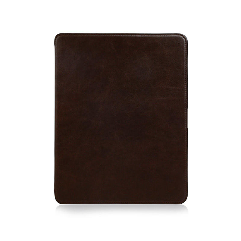 Factory wholesale lowest price Magnetic buckle Genuine Leather Brown Leather For Ipad Case