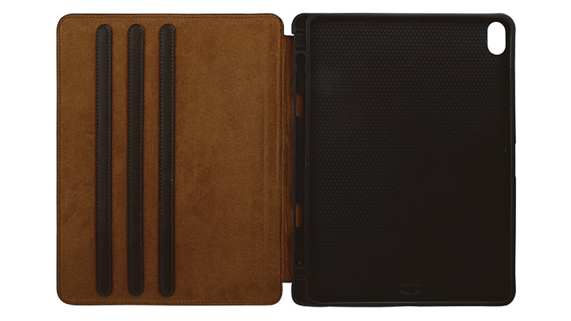 Factory wholesale lowest price Magnetic buckle Genuine Leather Brown Leather For Ipad Case-5