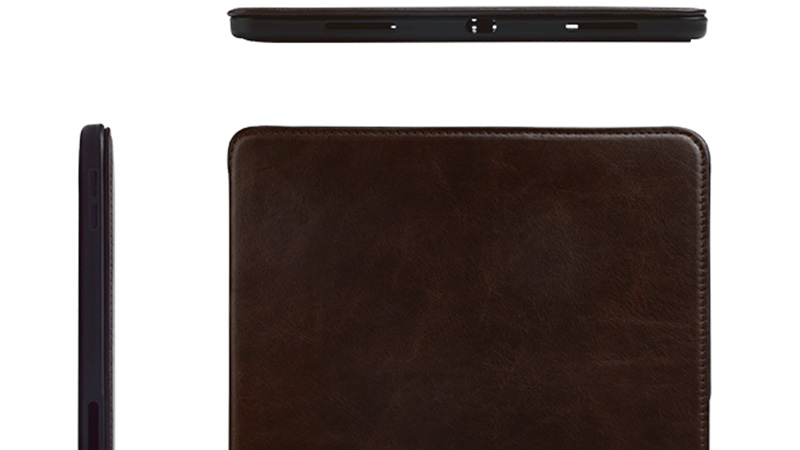 Factory wholesale lowest price Magnetic buckle Genuine Leather Brown Leather For Ipad Case-6