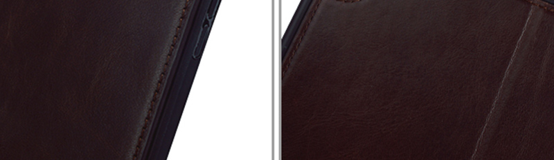 Factory wholesale lowest price Magnetic buckle Genuine Leather Brown Leather For Ipad Case-8