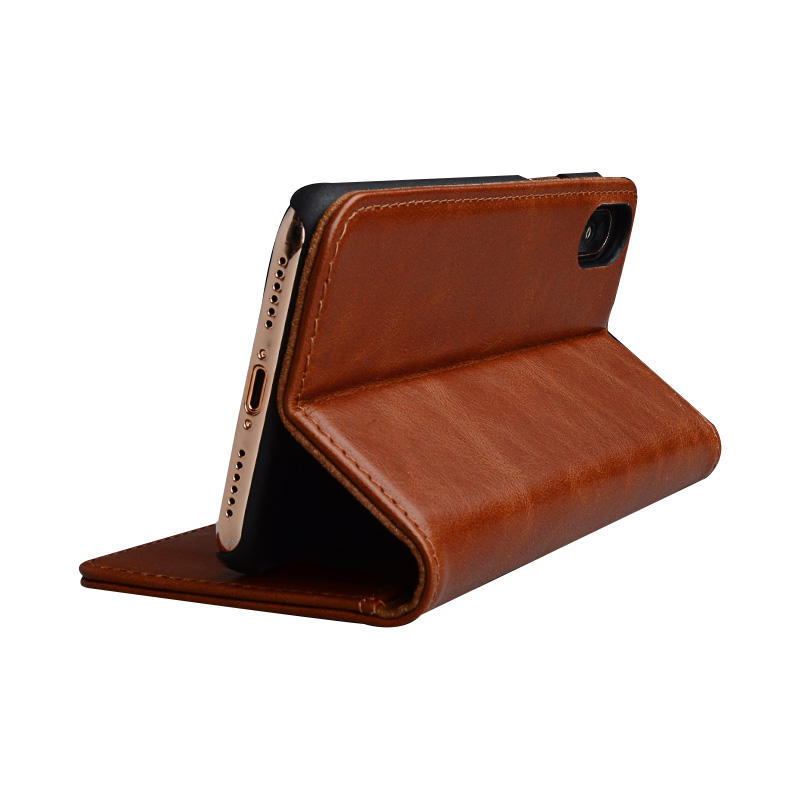 Fine Leather Phone Cases Flip Leather Wallet Cover Case For iPhone X Case