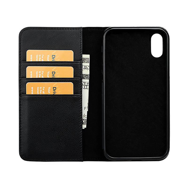Classic Handmade Genuine Folio Genuine Leather Wallet Phone Case For iPhone X