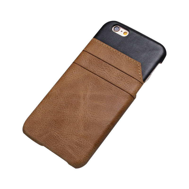 High Quality Splicing genuine Leather Premium Leather For Iphone 6 Case Card Holder Back Cover