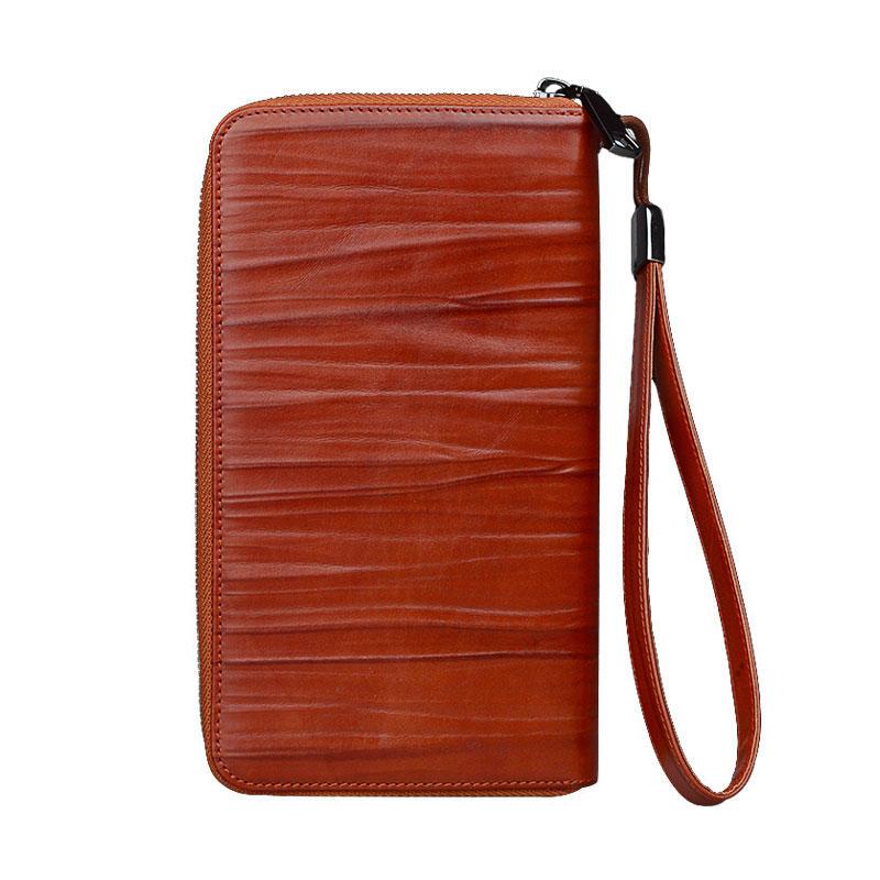 Unisex vintage genuine leather handbag long wallet cow leather Mens Leather Card Wallet