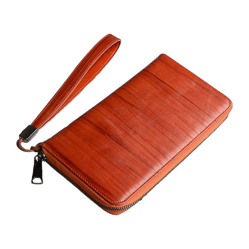 Unisex vintage genuine leather handbag long wallet cow leather Mens Leather Card Wallet