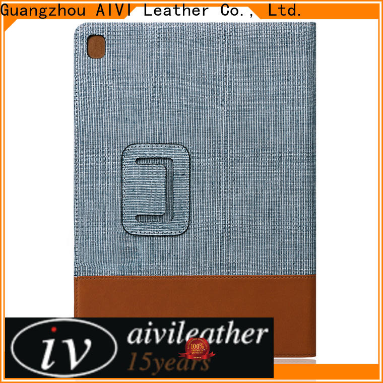 AIVI high quality black leather ipad case online for IPad