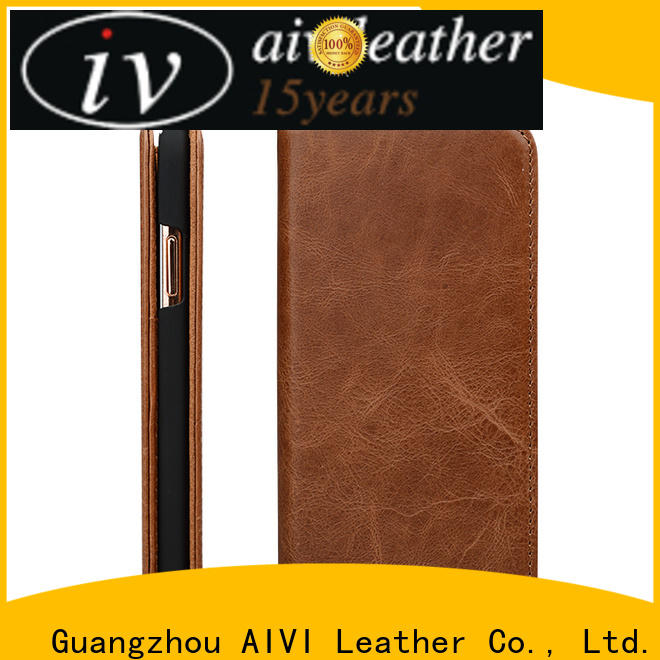 AIVI personalized apple tan leather case accessories for phone XS Max