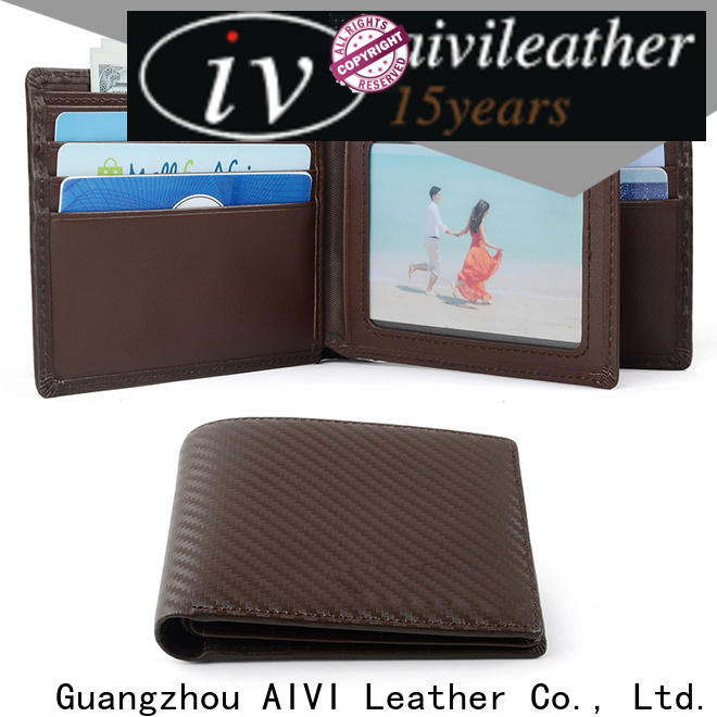 AIVI slim leather travel wallet easy to carry for men