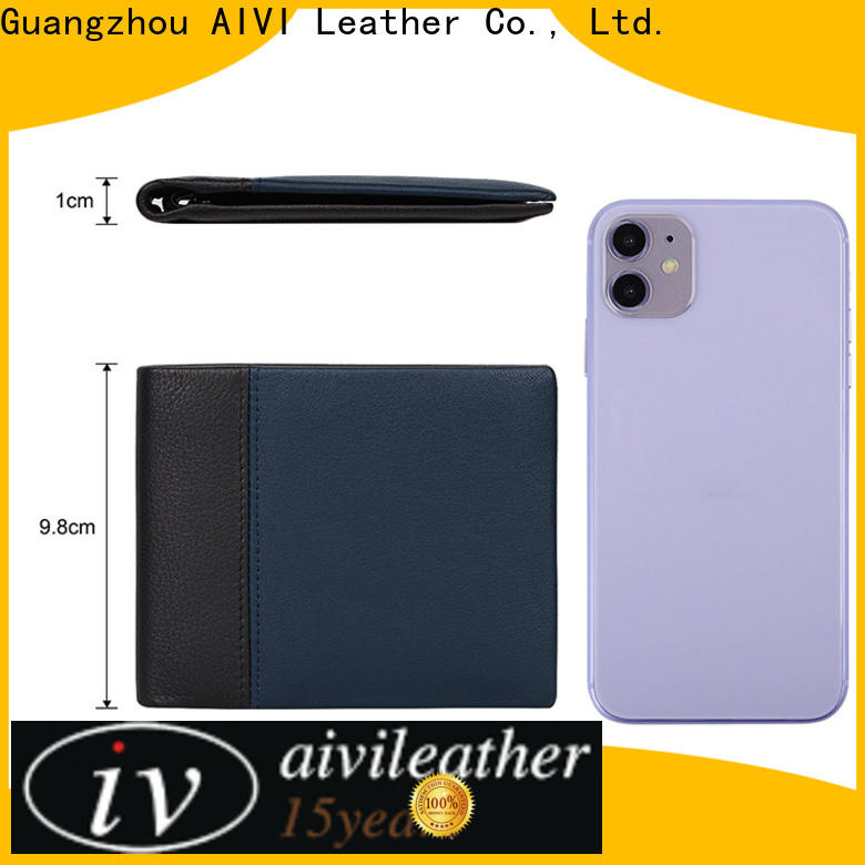 AIVI beautiful mens leather wallet with coin pocket factory for ipone 6/6plus