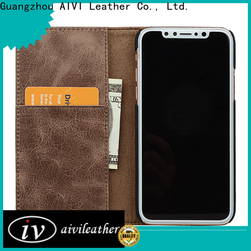 AIVI protection apple tan leather case protector for iphone XR