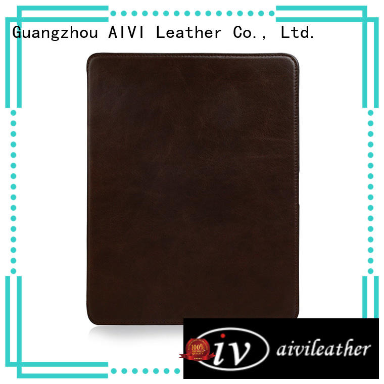 AIVI customized brown leather ipad case online for MAC BOOK