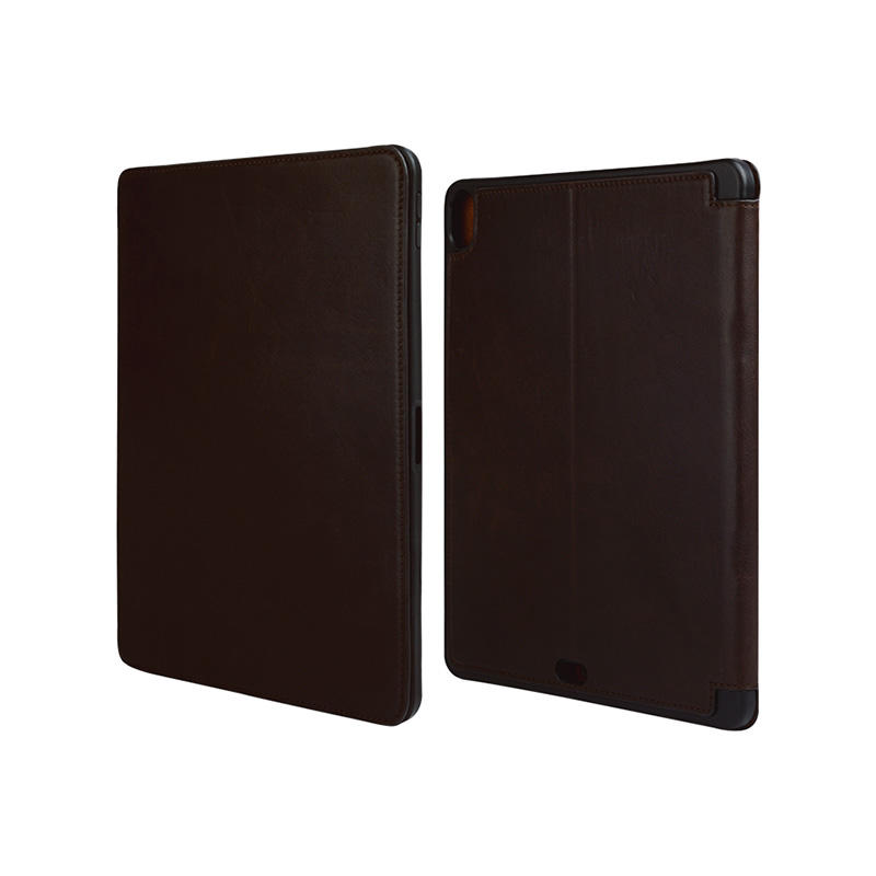 Factory wholesale lowest price Magnetic buckle Genuine Leather Brown Leather For Ipad Case-1