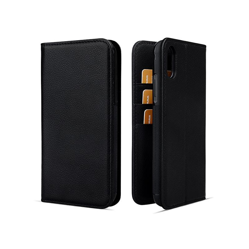 durable black leather iphone case for iphone XS-1