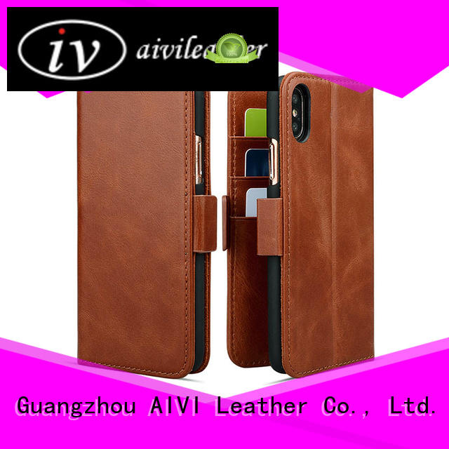 AIVI customized blue leather iphone case mobile for iphone X