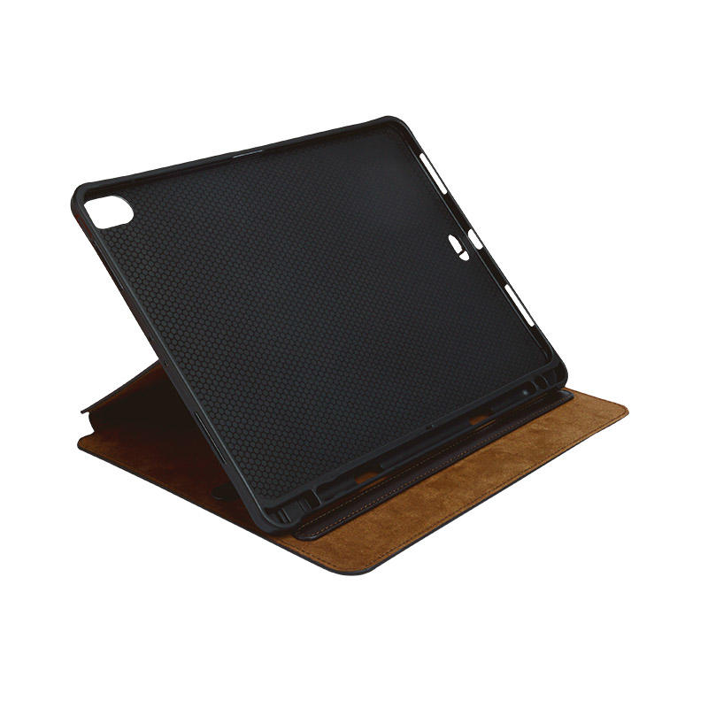 Factory wholesale lowest price Magnetic buckle Genuine Leather Brown Leather For Ipad Case-3
