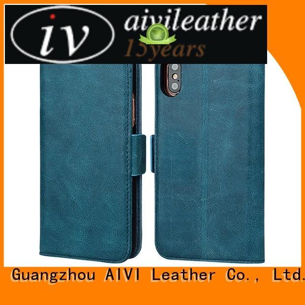 convenient tan leather phone case online for ipone 6/6plus AIVI