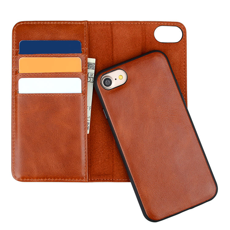 Brown Leather Iphone Case Luxury Wallet Mobile Phone Case For iPhone XS MAX