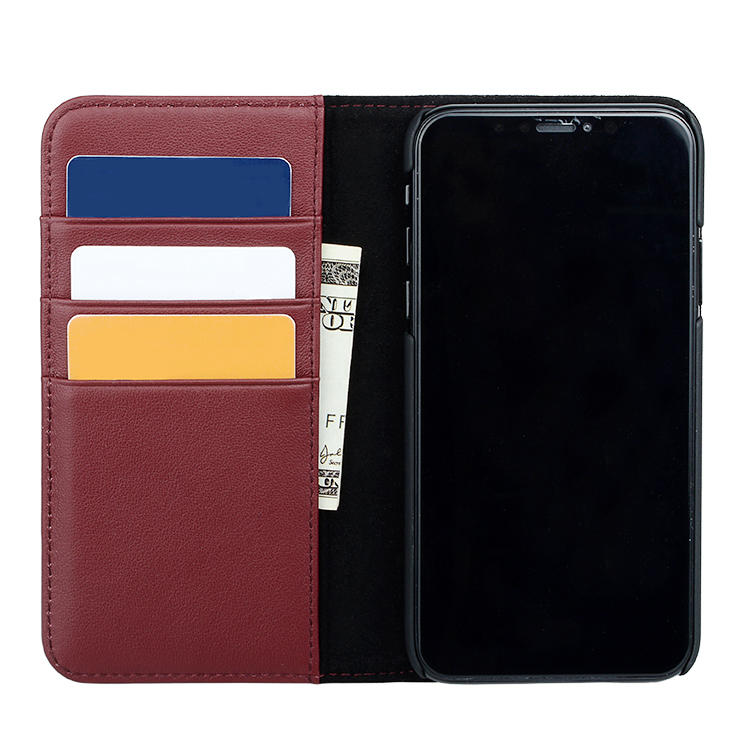 For iPhone Xs Max Genuine Leather Wallet Phone Case With Credit Card Holder
