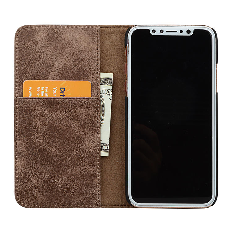 Crazy Horse Leather genuine leather wallet phone case for iphone XS