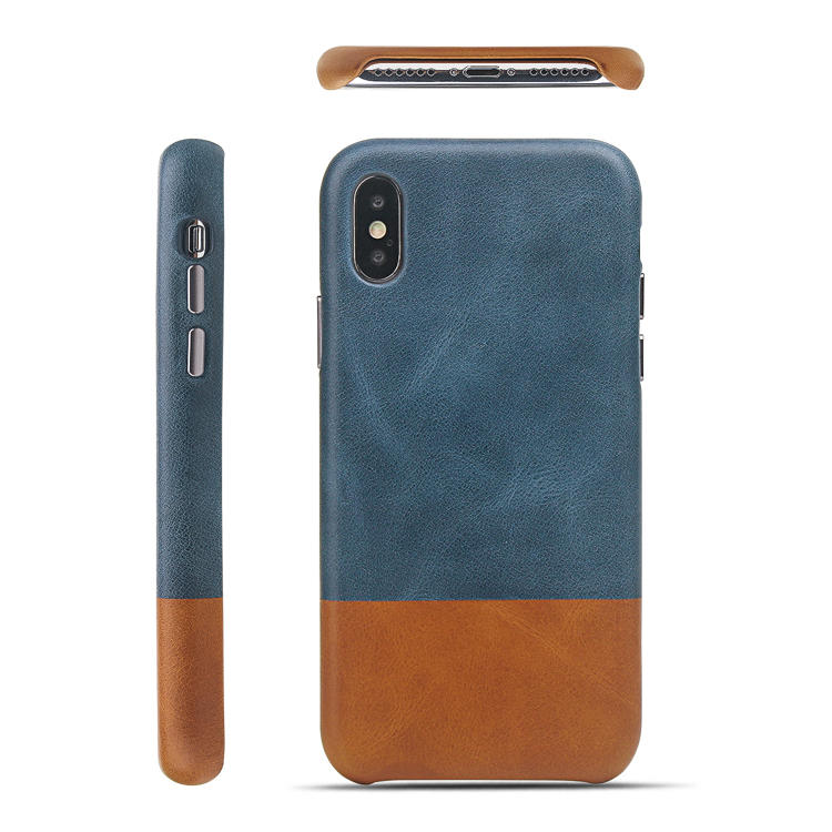 Vintage Color Contrast Genuine Leather Phone Back Case For iPhone XS