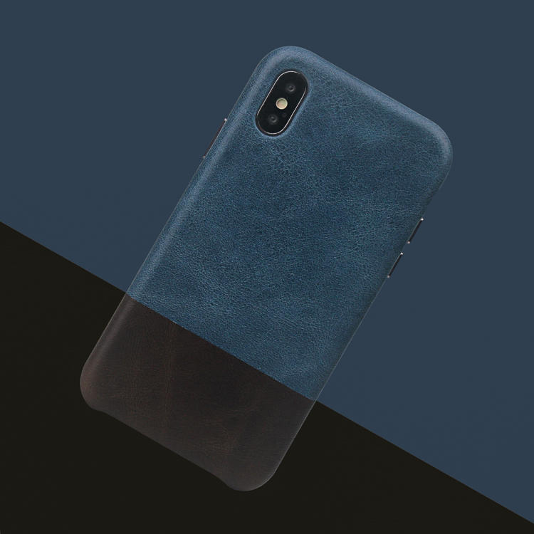 High Quality Blue And Black Leather Contrast Color Back Cover Phone Case