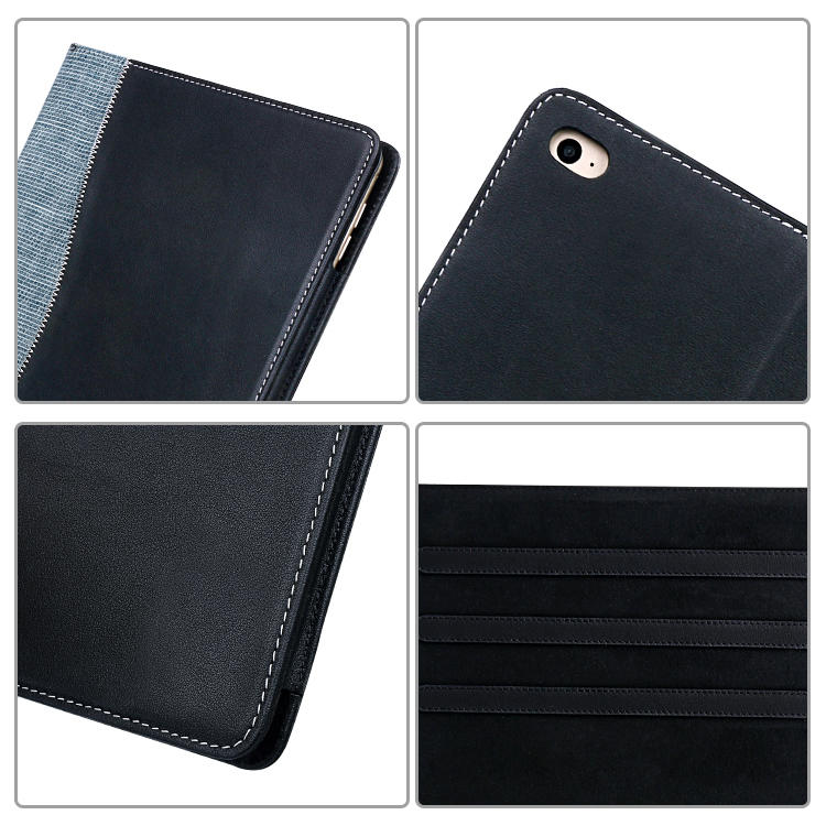 Factory wholesale Magnetic buckle Genuine Leather For Ipad Case