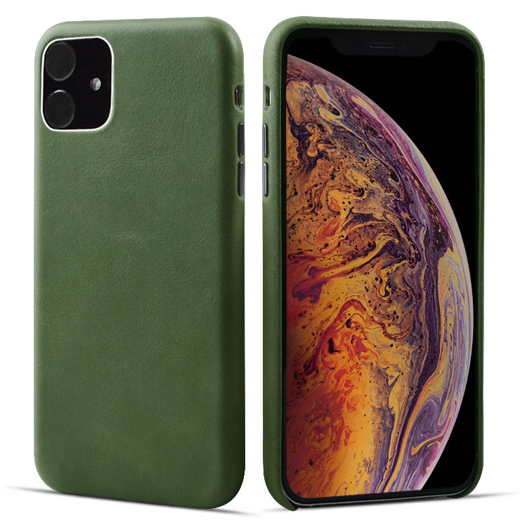 First Layer Cow Genuine Leather Mobile Case Phone Cover for Apple iPhone 11 Case
