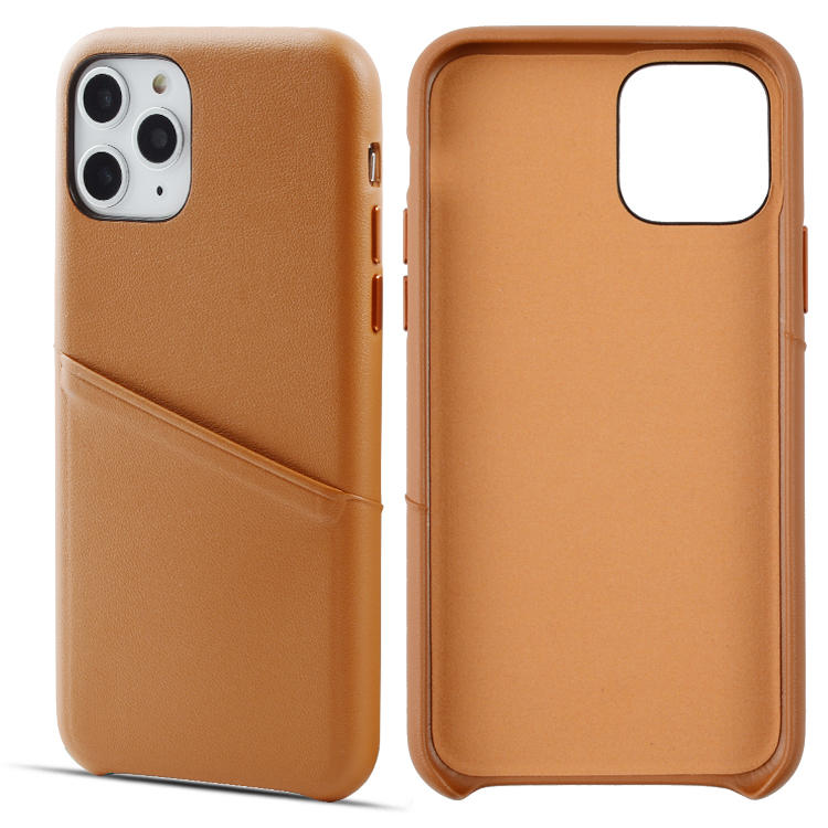 Soft Nappa grain light brown genuine leather phone case for iPhone 11