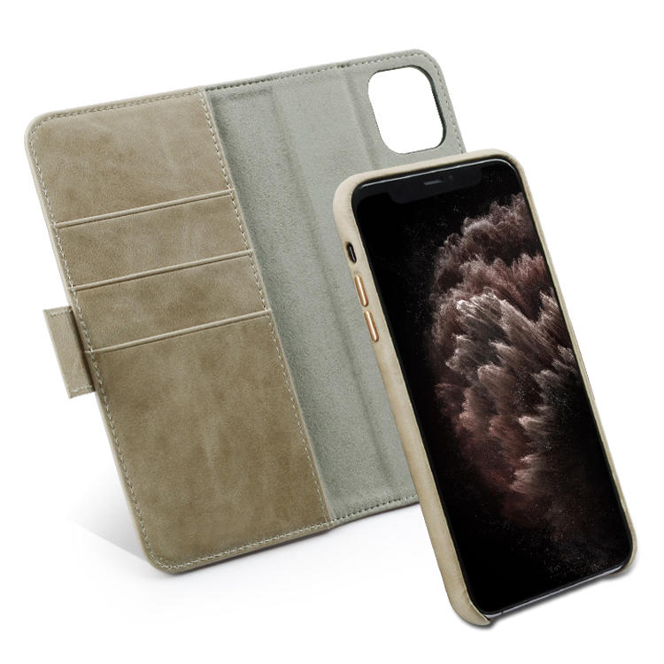 High Quality Detachable Magnetic Custom Real Leather Cover Case For iPhone 11 Case 5.8/6.1/6.5 inch Leather Mobile Phone Case