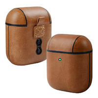 Fashion Bluetooth Connection Waterproof Headphone Genuine Leather Earphone Case With Holder For Airpods Pro