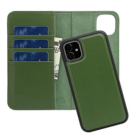 Full Grain Leather Detachable Wallet Phone Case Genuine Leather Mobile Phone Case for Iphone 11