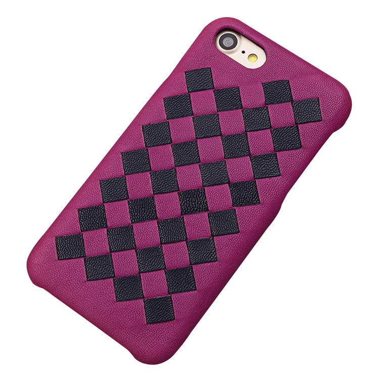 Pure Handmade Weave Back Cover Genuine Leather Mobile Phone Case For iPhone 8