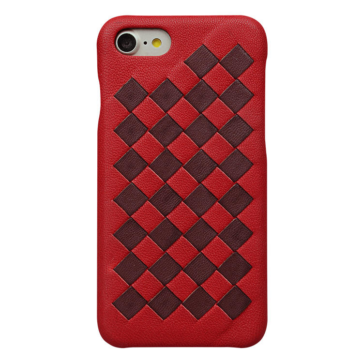 Shockproof Handmade Weave Genuine Leather Phone Case for iPhone 8