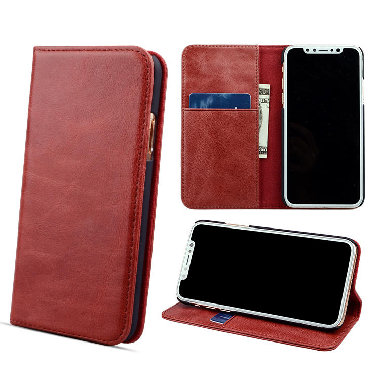 Factory Wholesale Mobile Phone Pouch Bag Flip Cover Genuine Leather Wallet Phone Cases for iphone Xr