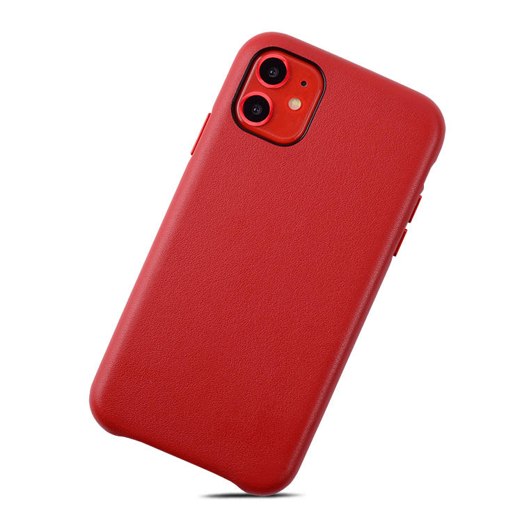Luxury PU Leather Phone Case Back Phone Cover For iPhone 11 With Independent Metal Button