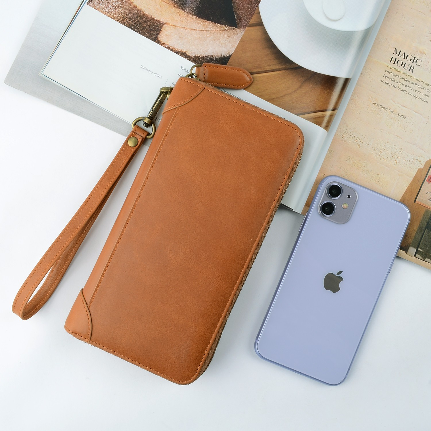 personalized leather card holder wallet manufacturer for iphone X-4