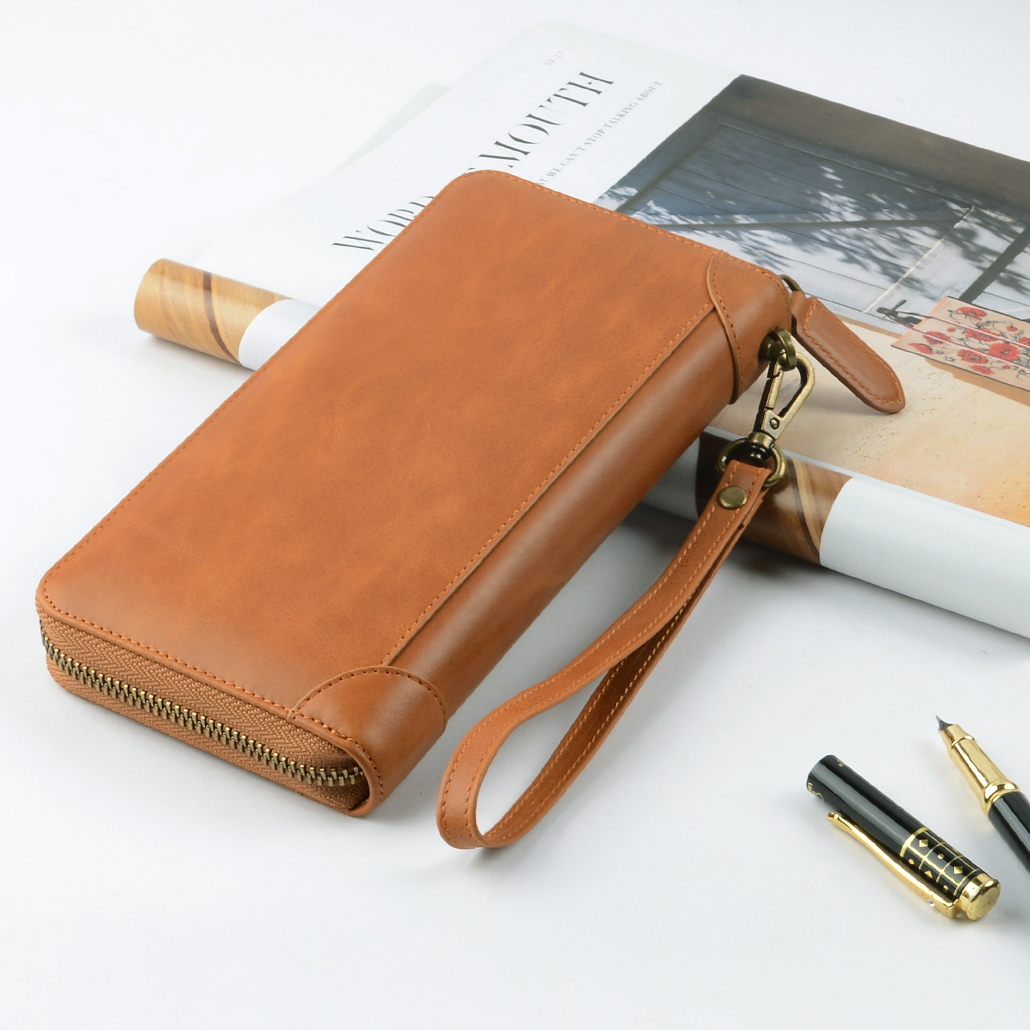 personalized leather card holder wallet manufacturer for iphone X-6