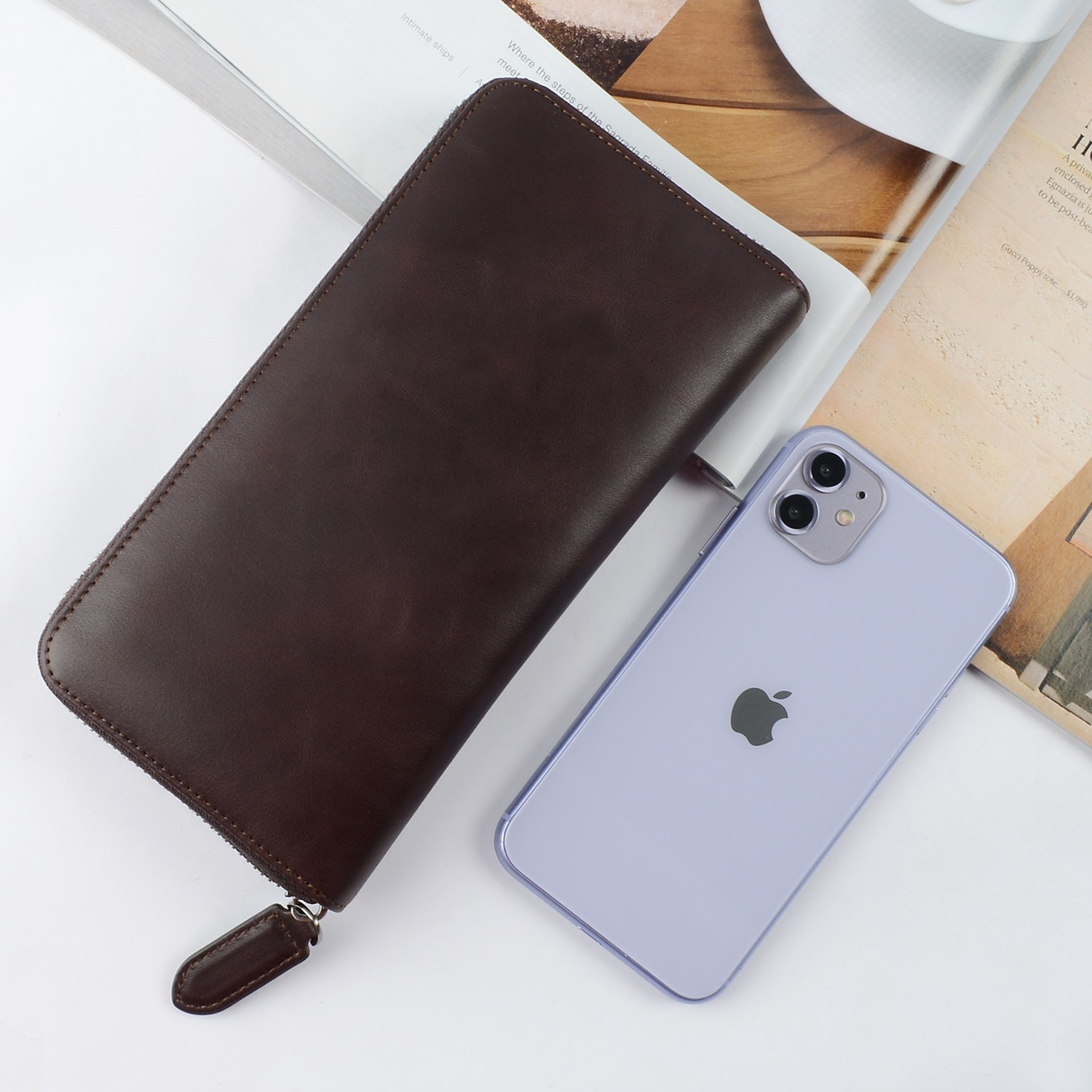 AIVI leather card holder wallet supply for iphone 8 / 8plus-4