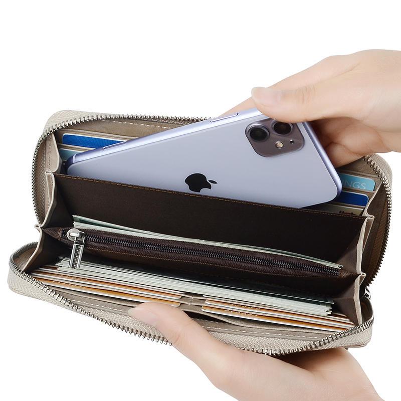 Top selling lady leather long women wallet