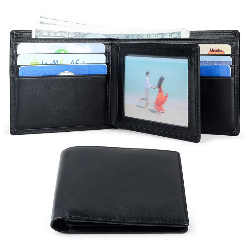 Branded Customized Best Brands Men's Leather Slim Wallet Genuine Leather Carbon fiber RFID Wallet