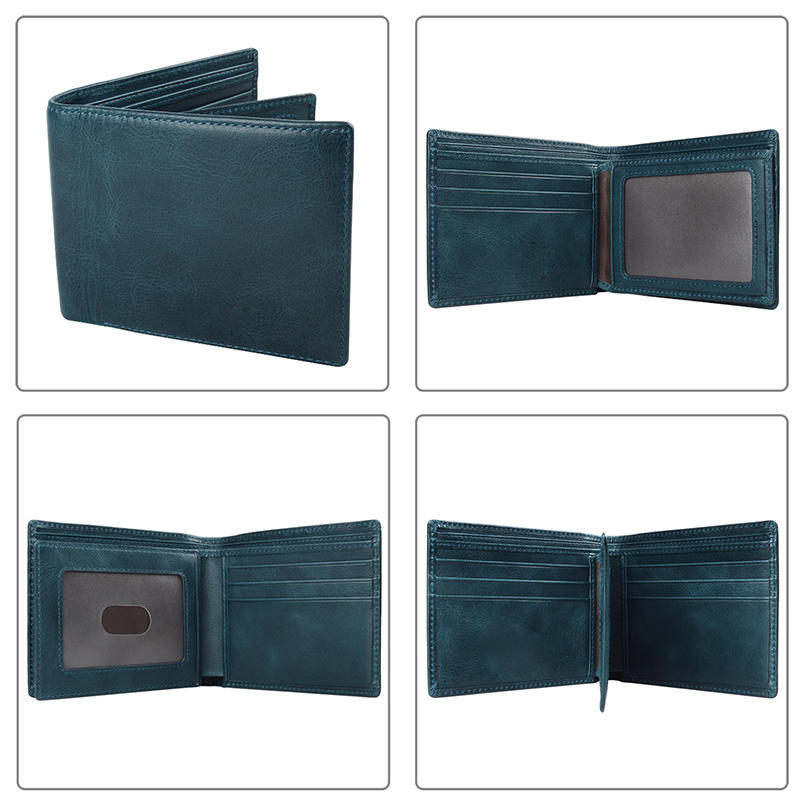 Genuine Leather Custom Leather Billfold Men's RFID Blocking Slim Wallet
