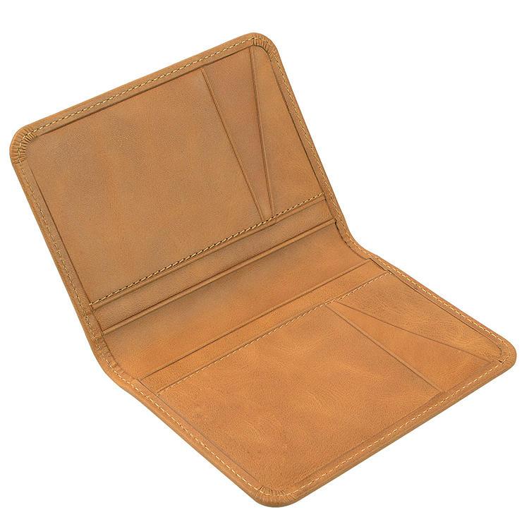 Bulk customized Slim High Quality Light brown Genuine Leather folding Business Name Credit Card Holder Case