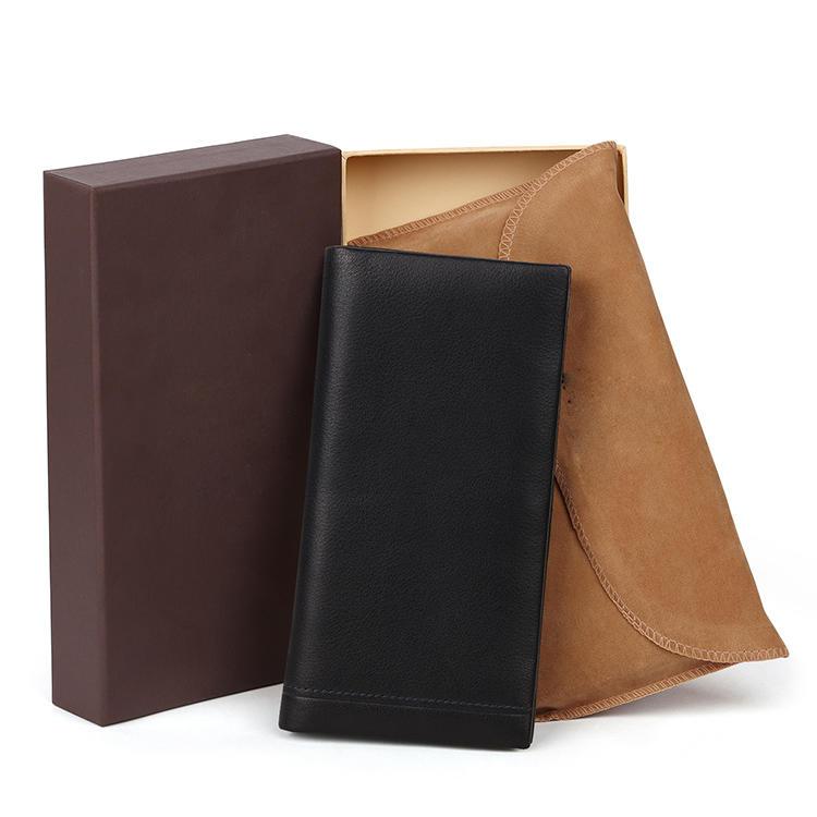 Genuine Leather Custom  Vintage Style RFID Card Holder Long Leather Wallet Phone Wallet Men