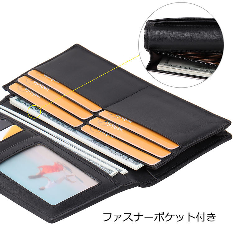 Gentleman Style Wallet Men Leather Purse  RFID Genuine Leather Long Wallet