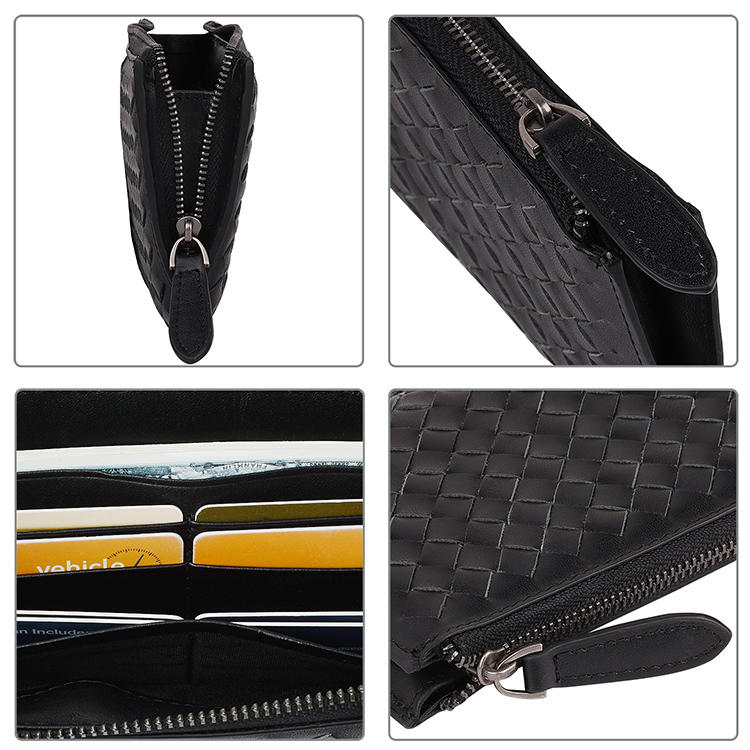 High Quality Classic Black Genuine Leather Women Long Wallet