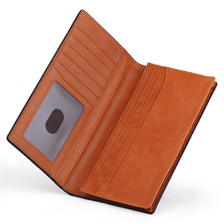 Vintage Genuine Leather Long Wallet Men Business Style Genuine Leather Phone Wallet