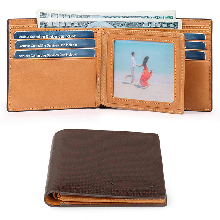 Mens Genuine Leather Flip  ID Wallet Bifold Trifold Men Wallet