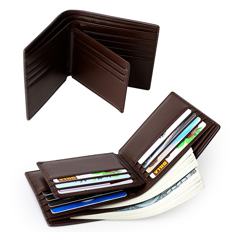 Minimalist design RFID blocking pocket credit card holder slim leather customized smart mens wallet