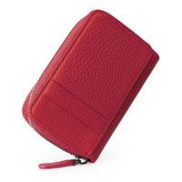 Womens Credit Card Holder Wallet Men Genuine Litchi Leather Zipper Wallet